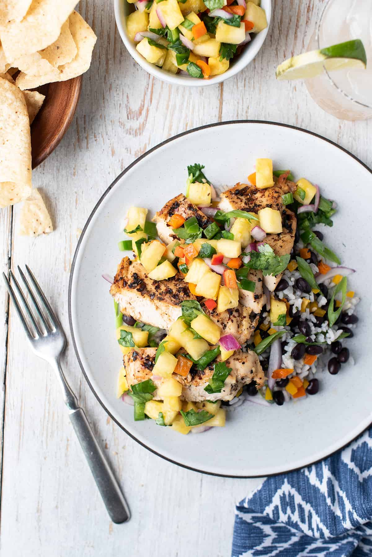 pineapple salsa over grilled chicken breast