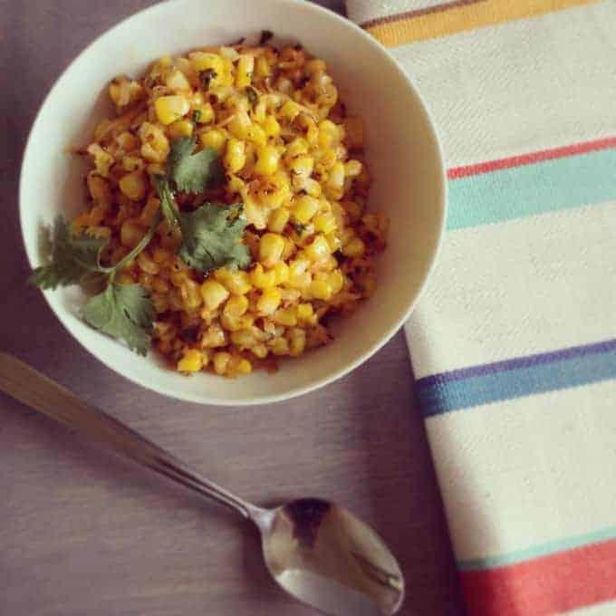 Coconut sweet corn with chili mayo