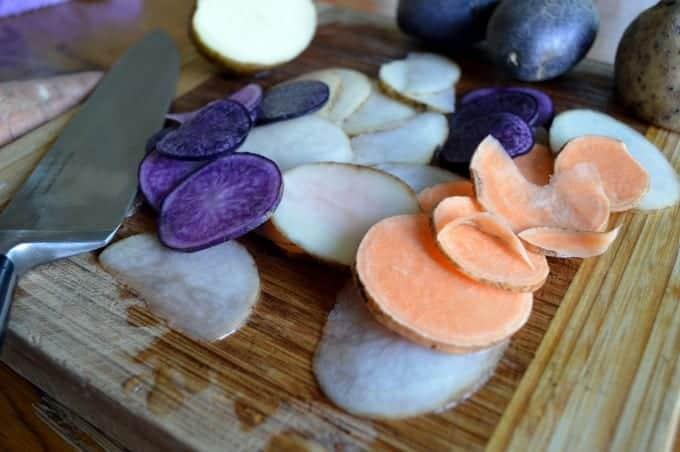 crispy tri-color potato chips