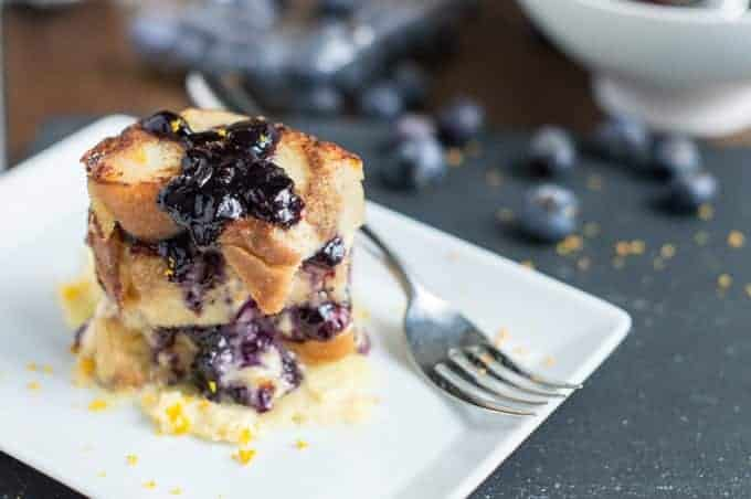 bread pudding with blueberry compote