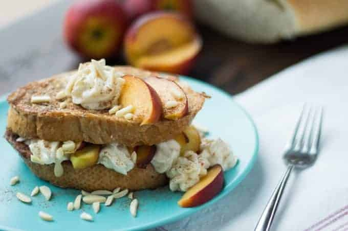 Peaches & Cream Stuffed French Toast - superman cooks