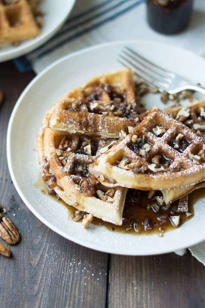 Pecan Waffles with Maple Bacon Compote - superman cooks