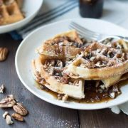 pecan waffles with maple bacon compote