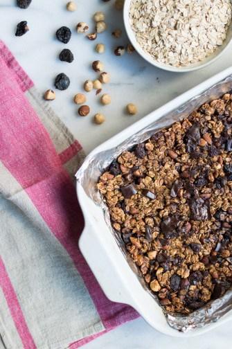 hazelnut, dark cherry & chocolate granola bars | superman cooks