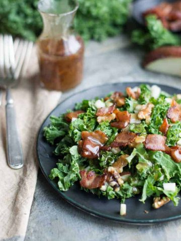 pear and kale salad with warm bacon dressing | superman cooks