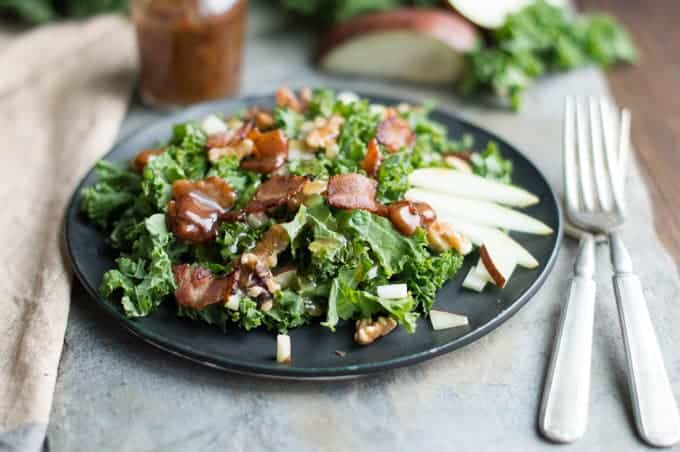 kale and pear salad with warm bacon dressing | superman cooks