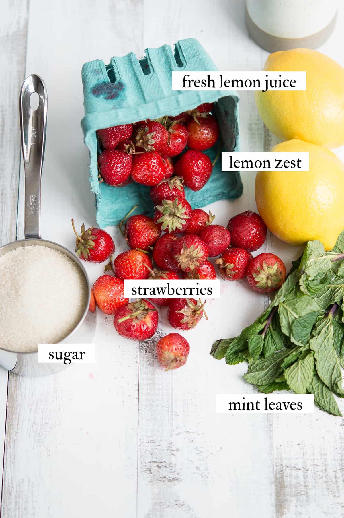 ingredients for strawberry lemon mint ice pops