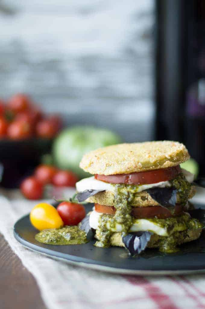 fried green tomato caprese | superman cooks