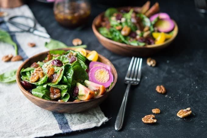 spinach salad with maple bacon vinaigrette | superman cooks