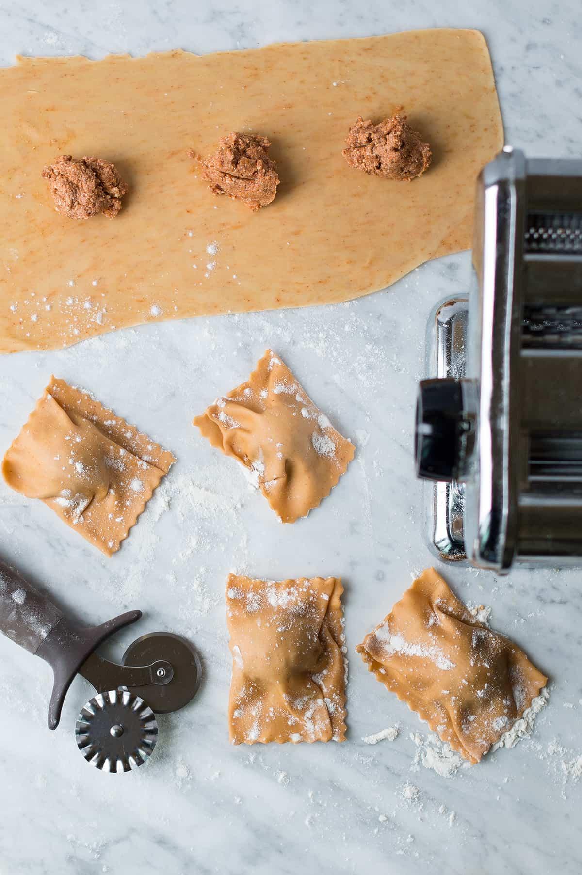chorizo & cheese ravioli process