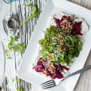 arugula & beet salad with herbed ricotta | superman cooks