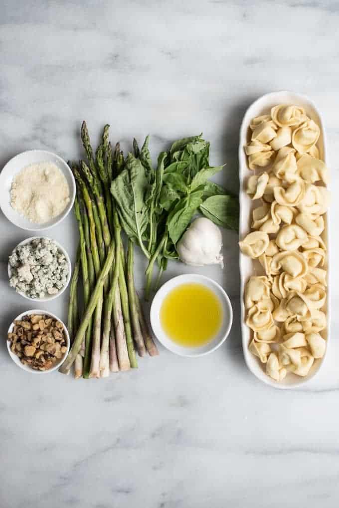 asparagus tortellini with blue cheese & pesto | superman cooks