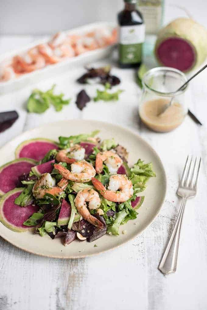 grilled shrimp salad with bourbon vanilla vinaigrette | superman cooks