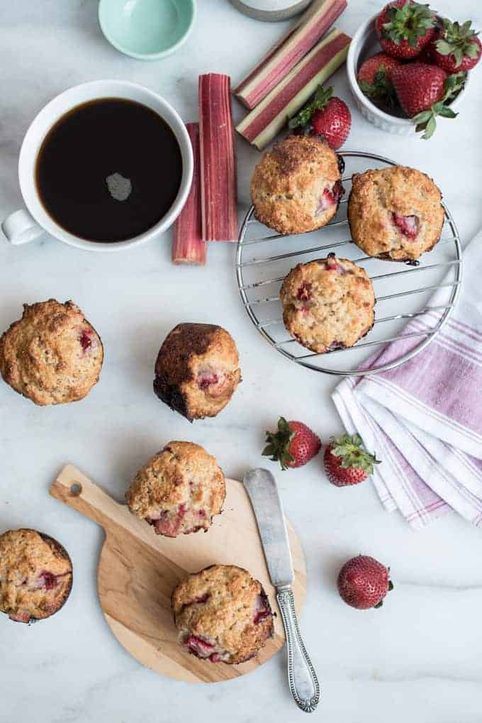 strawberry rhubarb whole grain muffins | superman cooks