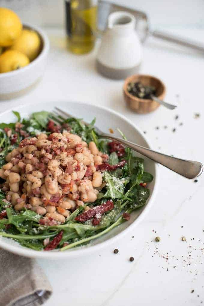 white bean salad with pancetta | superman cooks