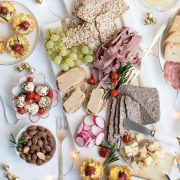 holiday champagne brunch charcuterie board with serving ware