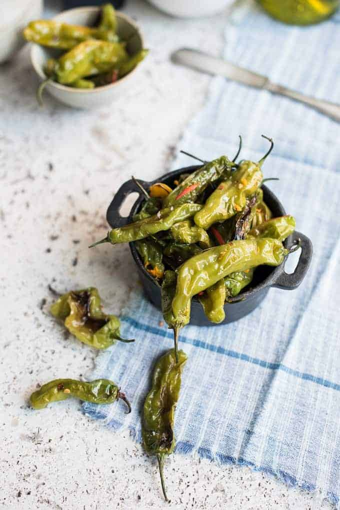 blistered shishito peppers with orange zest | superman cooks