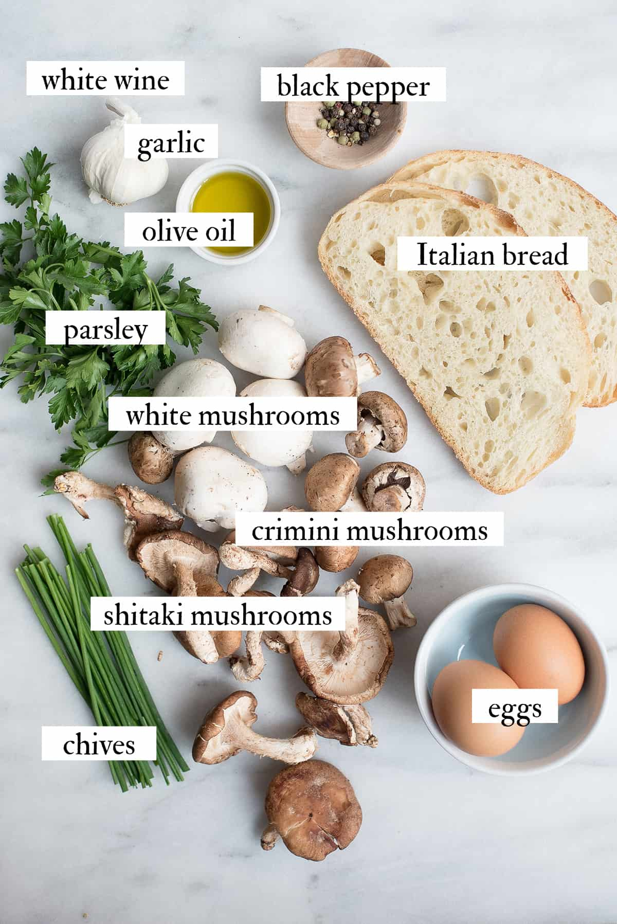 ingredients for mixed mushroom toasts with egg