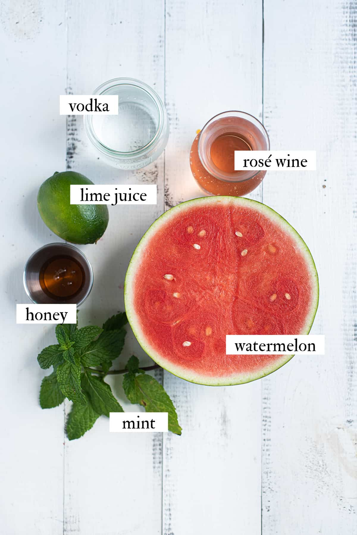 ingredients for watermelon frosé on white background