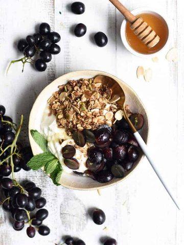 grape granola bowl