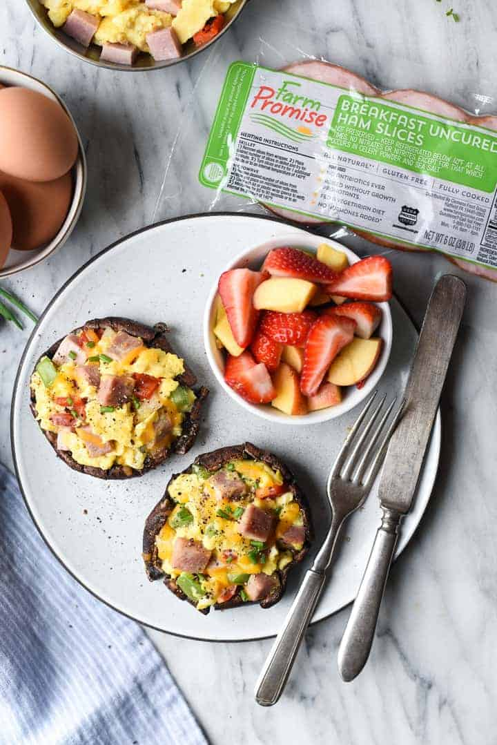 stuffed breakfast portobello mushroom caps | superman cooks