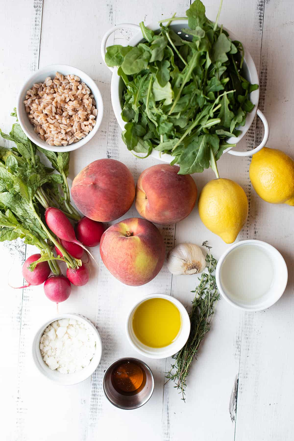 grilled peach & farro salad ingredients