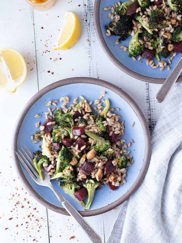 charred broccoli & farro salad | superman cooks