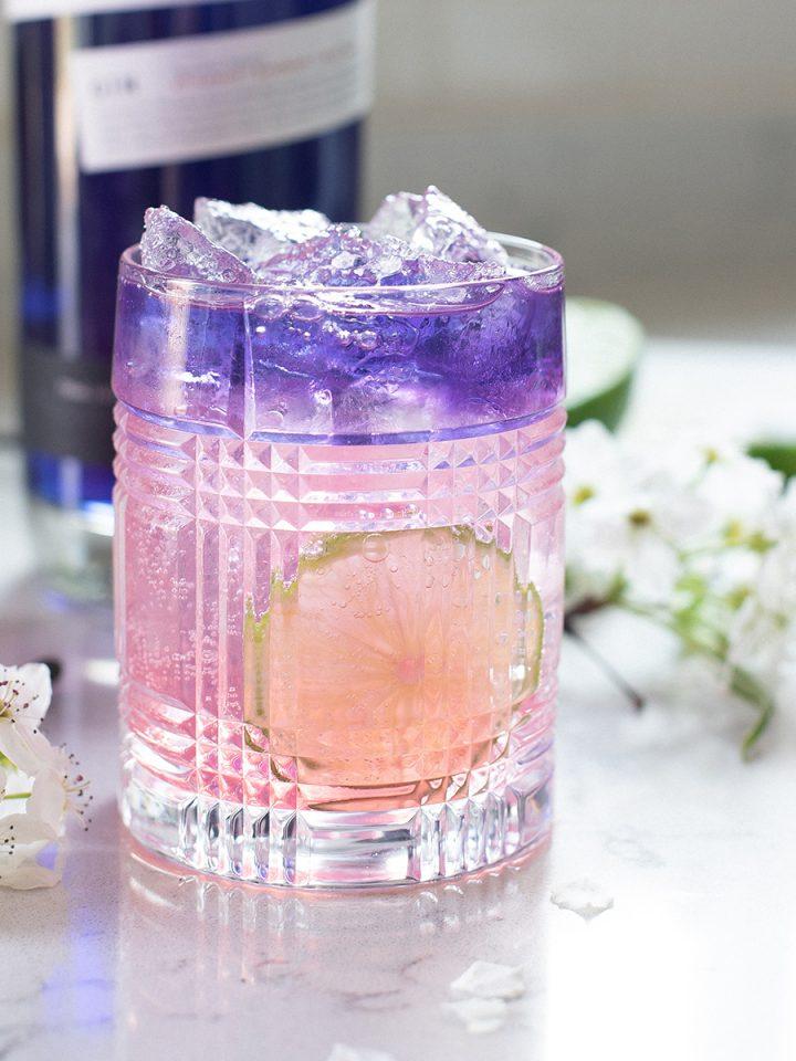 gin cocktail + gin bottle