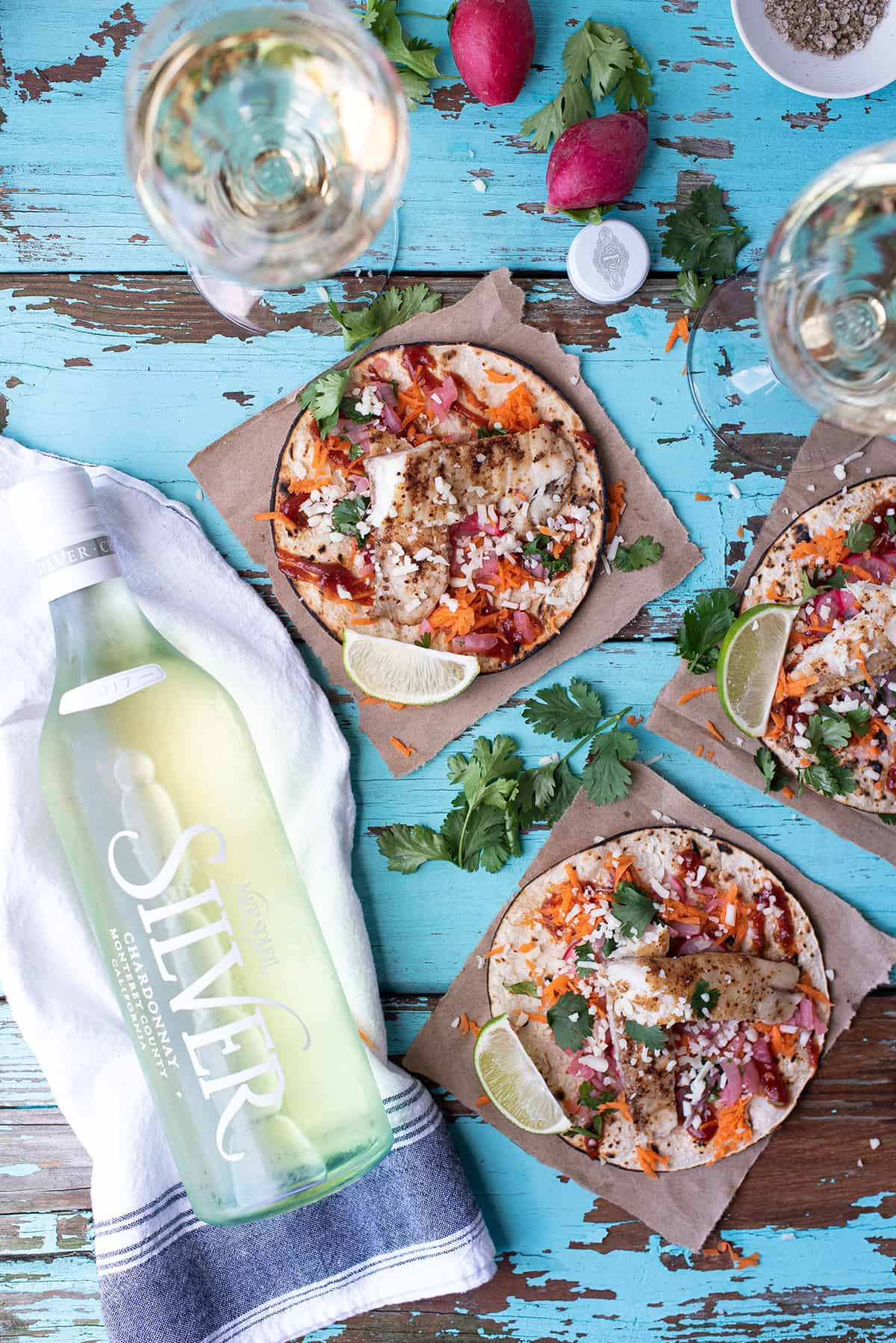Fish Tostadas with Mer Soleil SILVER chardonnay bottle