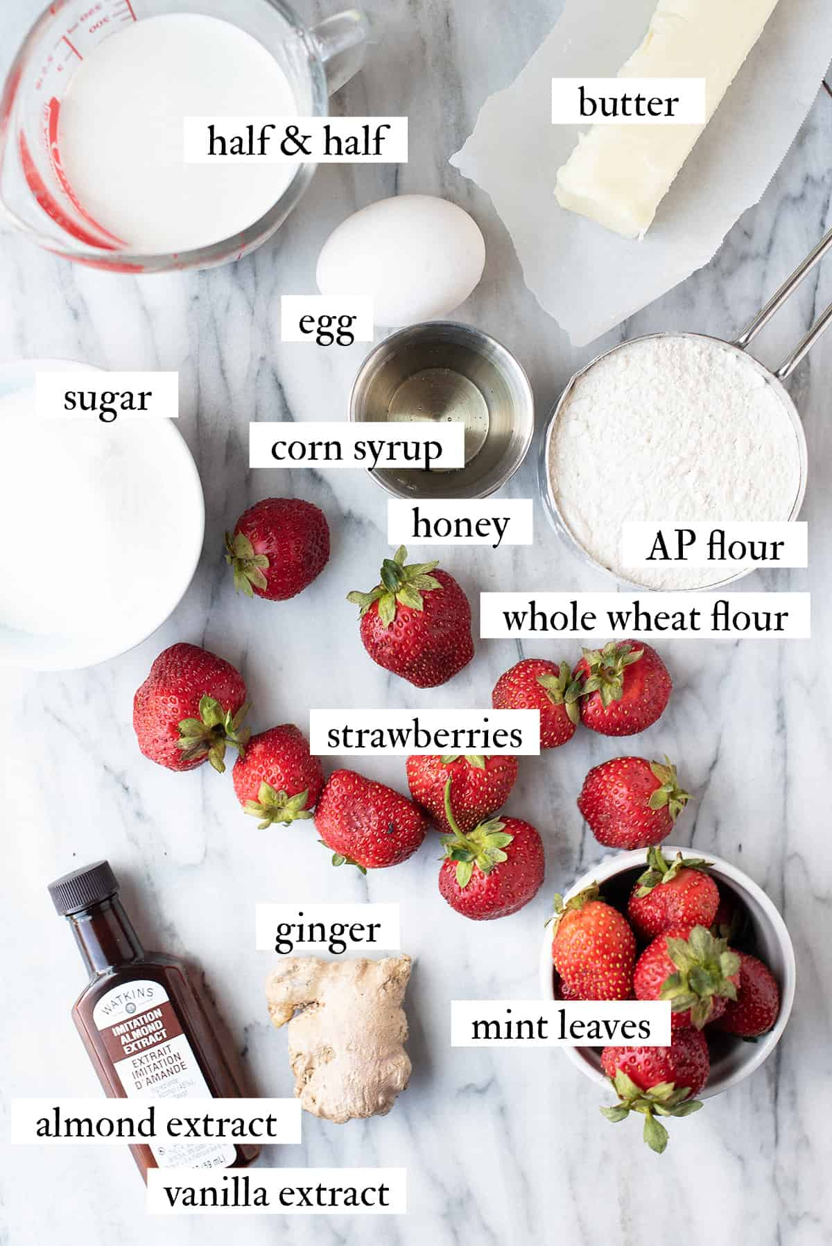 ingredients for strawberry butter bars