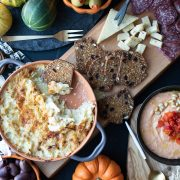 mezze platter with artichoke dip, hummus, crackers & cheese