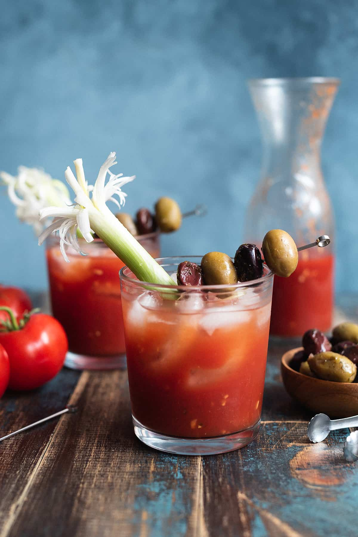 Bloody Mary in glass garnished with olives