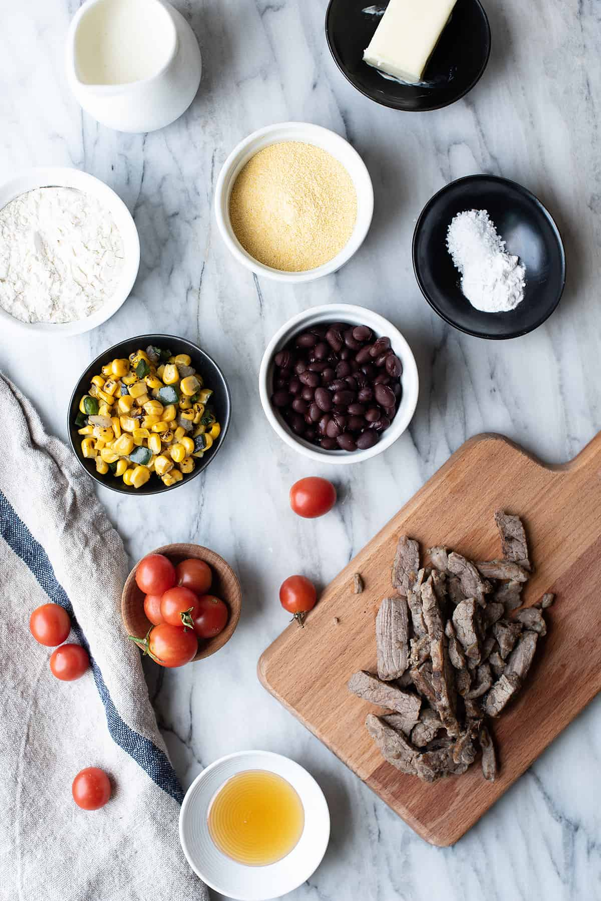 skilled fiesta cornbread ingredients on a tabletop
