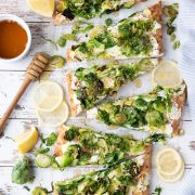 slices of lemony brussels spouts flatbread