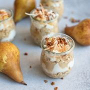 overnight oats parfaits in glass jars with pears