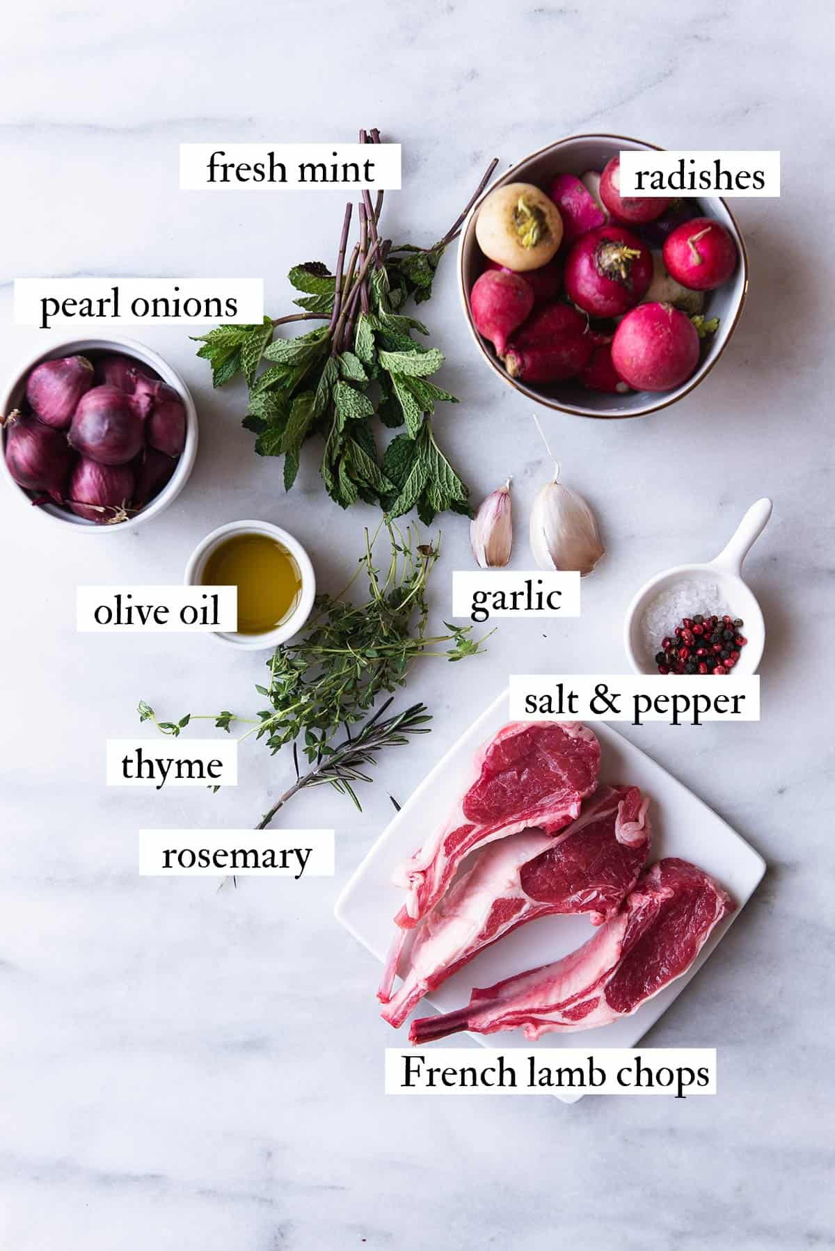 ingredients for French lamb chops with mint aioli on white countertop