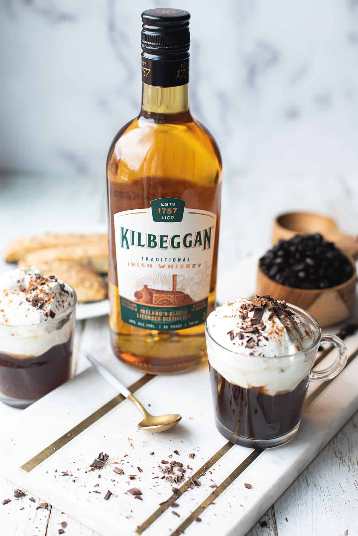 Irish coffee in mug with Kilbeggan Whiskey