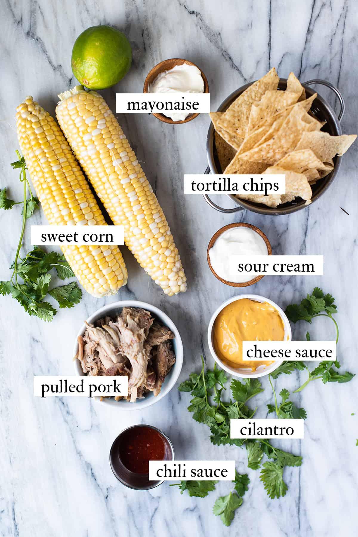 ingredients for BBQ pork nachos