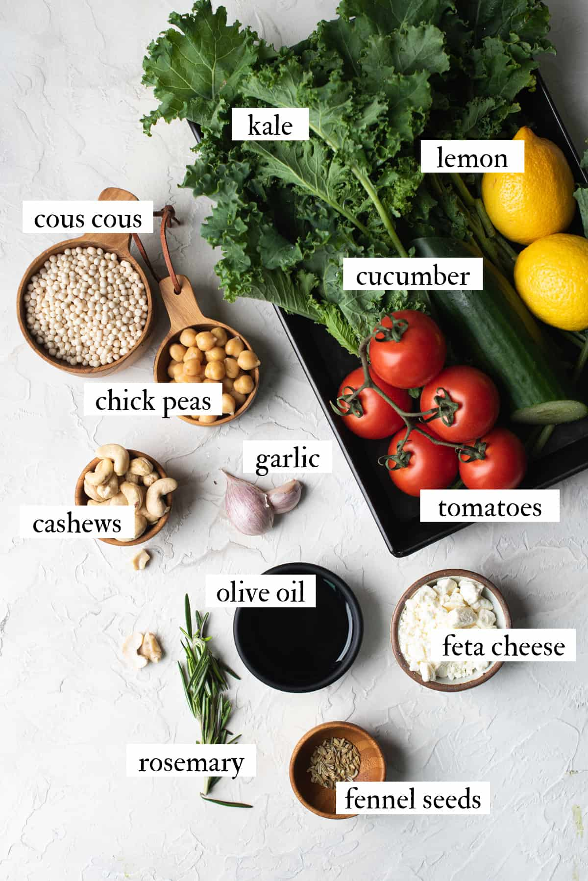 ingredients for kale salad with cous cous
